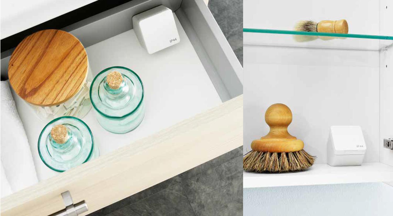 Badrumsskåp, tvättställ och spegelskåp till badrummet