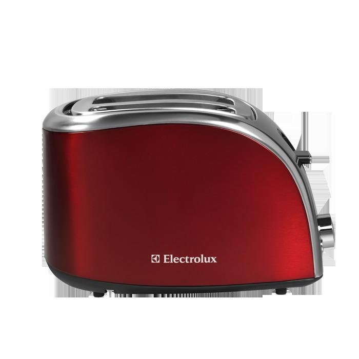 Snyggt designad brödrost i rött och rostfritt stål